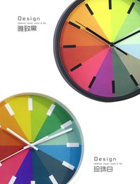 Wholesale DHL SF_ EXPRESS Rainbow Wall creative Clock wall hanging mute clock living room bed room Without batteries