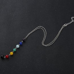 Wholesale Hot New Natural Beads Pendant Yoga Reiki Healing Balancing Necklace with Chain