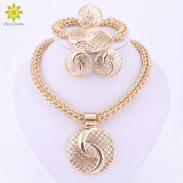Wholesale Latest Luxury Big Dubai Gold Plated Crystal Necklace Jewelry Sets Fashion Nigerian Wedding African Beads Costume Jewelry