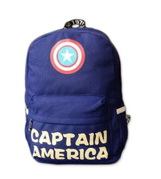 Wholesale 2016 Captain America backpack double Shoulder book Bags fashion Unisex canvas schoolbag middle school students backpacks