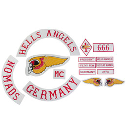 Wholesale Badge HELLS ANGELS Motorcycle Original Embroidery twill Biker Patches for Jacket Back Full Size Set DIY Set