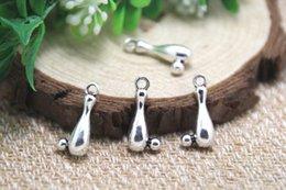 Wholesale 20pcs Bowling Pin Charms Antique Tibetan silver Bowling Pin Charms pendants x17mm