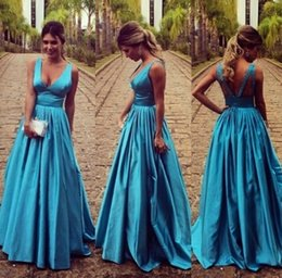 V neck satin prom dress Long A line sexy backless evening gown long formal evening gown