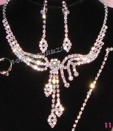 white crystal diamond bride wedding set necklace earings yhyyjyhj