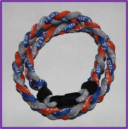 Wholesale 2016 Newest anionic negative ion silicone braided titanium necklace for Baseball basketball