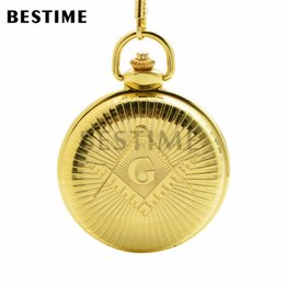 Wholesale BESTIME Watch Freemasonry Masonic Quartz Movement Fob Pocket Watch Chain Full Hunter Golden Case Value Quality