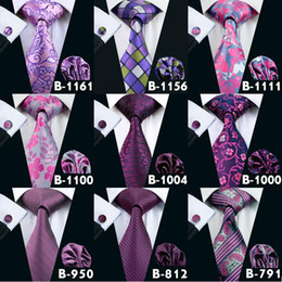 Fashion Mens Purple Wedding Active Party Ties High Quality Men Silk Neck Tie Set Include Tie Hanky & Cufflinks Free Shipping