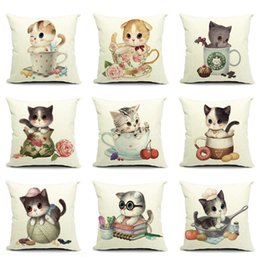 Wholesale IKEA Style Little Cat Paints Pillow Cover quot Cute Small Cat Playing Pillow Case Home Sofa Office Throw Pillowcases Cushion Covers