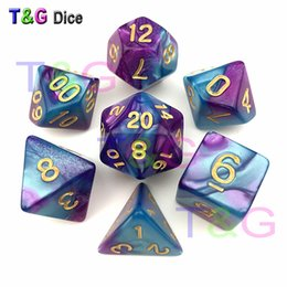 Purple & Blue Dice DND Die Toys For Adults Kids Plastic Cubes Special Birthday Gift