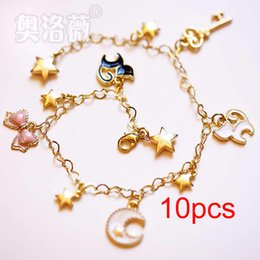 Wholesale Sailor Bracelets Wholesale - Cheap wholesale 10pcs Sweet Cosplay Sailor Moon Tsukino Usagi luna cat Chain bracelet Hand catenary
