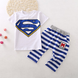 Wholesale Summer Striped Shirts For Boys - Kids super hero outfits short sleeve T shirt+stripe haren pants sets 3colors children popular suits summer clothing for boys and girls gifts
