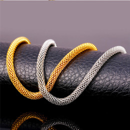 Wholesale Fashion jewelry Hot Men s Necklace Silver Gold Black plated mm quot Network Chains Necklace Mens Necklace men s necklace