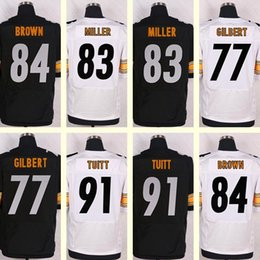 Wholesale 2016 New Men s Stephon Tuitt Antonio Brown Heath Miller Marcus Gilbert Blank Black White Elite jerseys Top Quality