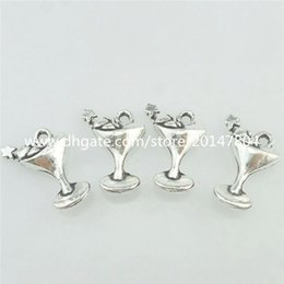 Wholesale 16813 Alloy Antique Silver Vintage Cocktail Glass Holiday Seaside Pendant