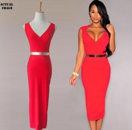 Wholesale fashion style women sexy V neck party midi dress knee length sexy night club Deep V Bodycon Package Hip dress red black
