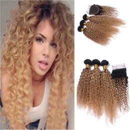 Kinky Curly Hair Bundles With Lace Closure Free Middle Three Part Ombre #1B 27 2 Tone Color Hair Weaves With Closure 4Pcs Lot