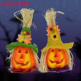Wholesale 2016 Pumpkin Light Halloween Decoration New Convenient Scarecrow Lantern Lamp novelty Party Supplies kids party favors