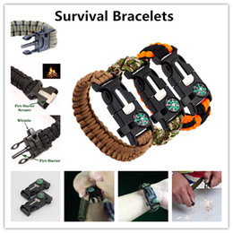 Wholesale Survival Bracelets Camping Safety Wristband With Compass Fire Starter Scraper Magnesium Rods Lifeline Umbrella Rope DHL Shipping