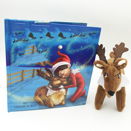 Wholesale 2016 hot elk book A Traditon story Hard soft Books with Reindeer Plush Toys chriatmas gift