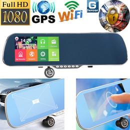 Cámaras de lentes de porcelana en venta-5.0 pulgadas cámara de coches espejo retrovisor Android Touch Dash cámara DVR GPS Nevigator Wifi 1080p doble lente vehículo de video grabador