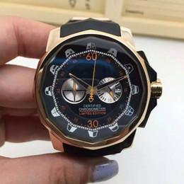 Regarder bracelet en caoutchouc noir à vendre-Chronographe OS montre à quartz pour hommes bracelet en caoutchouc noir multi-fuseau montre hommes 48mm big dial montre homme résistant à l'eau