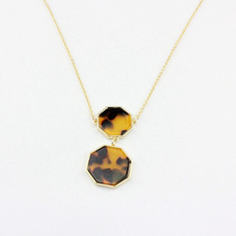 Geometric Hexagon necklace new tortoise delicate double pendant hexagon amber colour high quality brass chain free shipping
