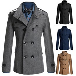 Wholesale Men Casual Double Breasted Male Trench Coat Military Style Pea Coat Men s Windbreakers Trench Homme