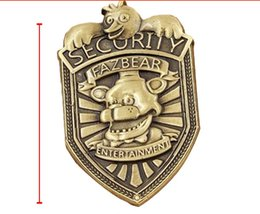 Wholesale 2016 Hot New Game Five Nights At Freddys Fazbear Security Badge Pin Antique Bronze Plated FNAF Figure Pendant