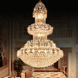 Wholesale Luxurious led crystal chandelier large pendant crystal chandeliers light for hotel lobby double floor living room construction project CE