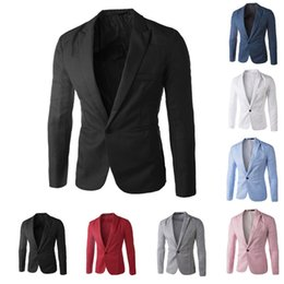 Wholesale New Arrival Single Button Leisure Blazers Men Male Fashion Slim Fit Casual Suit Red Navy Blue Blazer Dress Clothing M XL
