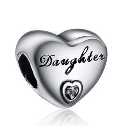 Wholesale Daughter With Heart White Crystal Charm Sterling Silver European Charms Bead Fit Pandora Snake Chain Bracelets DIY Jewelry