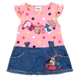 Wholesale Clothes For Kids Girls School - Girl's dresses for school Dresses kids girl Dresses for kids Girl's clothes knee length short sleeves dot hot sale