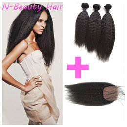 Kinky Striaght Brazilian Human Hair With Closure Full Head Unprocessed Coarse Yaki Hair Wefts LaurieJ Hair
