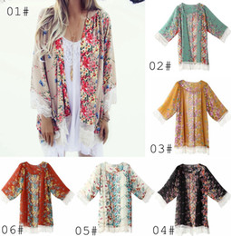 Wholesale New Women Lace Tassel Flower pattern Shawl Kimono Cardigan Style Casual Crochet Lace Chiffon Coat Cover Up Blouse colors choose free ship
