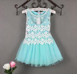 2016 Fashion girls lace pompon Dresses Korea tulle net yarn skirt Children Summer Baby leisure Princess Dress Kids Pretty Party dress 800031