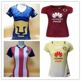 Wholesale DHL Mixed buy Women Chivas America Cougar soccer jerseys best quality Mexico club America yellow red Lady R SAMBUEZA soccer footba