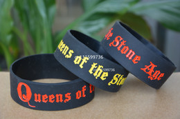 "25pcs lot QUEENS OF THE STONE AGE Silicone Debossed 1"" Wide Rubber Bracelet Wristband"