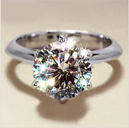 Compra Online Piedras preciosas conjunto de plata de ley-Moda 925 de la piedra preciosa de plata anillos de dedo de la Mujer clásico de seis puntas anillos de ajuste 3CT coctel de la boda de circón diamante simulado