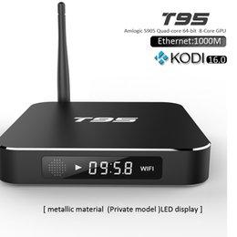 Wholesale T95 Quad Core TV Box HDMI G G Amlogic S905 Android K Media Player M LAN Kodi Fully Loaded TV Channels Internet Kodi Box