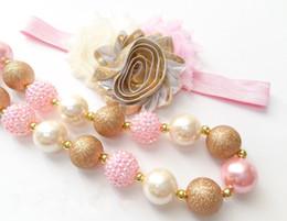 Pink Rhinestone beads Gold Wrinkle Chunky Kids Necklace girl chunky necklace,Bracelet&Headband CB801
