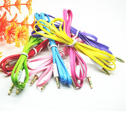 Colorful 3.5mm Flat Male to Male Aux Stereo Audio Cable for For iphone 5 ipod ipad mp3 phone