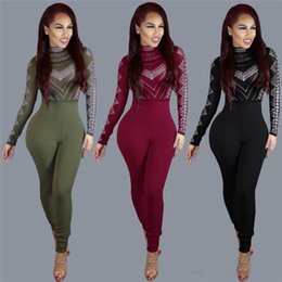 Wholesale Sexy Women Bodycon Jumpsuit Army Green Wine Red Black Digital Geometric Print Long Sleeve Outfit Party Bodycon Jumpsuits