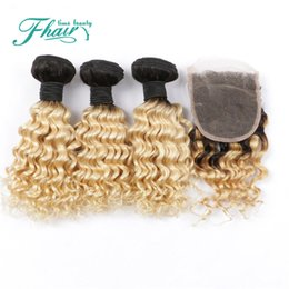 Deep Curly 7A Brazilian Blond Hair With Closure 3 Bundles With 4*4 Lace Closure Dark Roots Omber Human Hair With Lace Closure