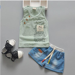 2016 New Summer Baby Boy Clothing Set Tank Top + Shorts Kid Boy Summer Set Children Boy Clothes Set Toddler Sleeveless striped