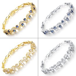 Classical Yellow Gold   Platinum Plated Plated Cubic Zirconia Crystal Tennis Bracelet Chain Luxury Wedding Women Jewelry