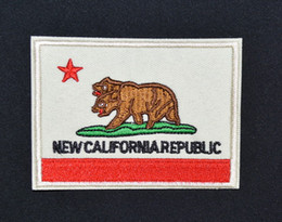 Wholesale California CA State Flag Embroidered Uniform Iron On Patch Emo Goth Punk Guaranteed Quality Appliques