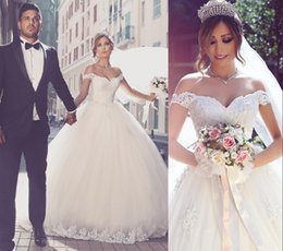 2019 Saudi Arabic Off The Shoulder Wedding Dresses Lace Appliques Ball Gown Puffy Tulle Castle Bridal Gown Said Mhamade New Design Dresses