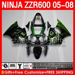 Wholesale green flames gifts Body For KAWASAKI NINJA ZZR600 CC NO246 ZZR ZZR gloss black airing