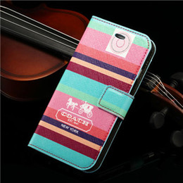 Wholesale Luxury leather fashion Stained pattern cell phone Flip cover case For iphone6 s plus Samsung Galaxy S6 edge portable bag Stand shell cases
