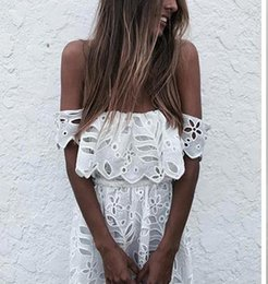 Elegant off shoulder girl white lace dress Women sexy high waist evening party summer dress casual vestidos